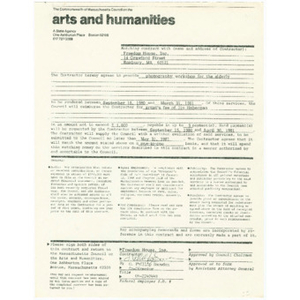 Contract between Freedom House and the Commonwealth of Massachusetts Council on the Arts and Humanities for funding of photography workshop for the elderly