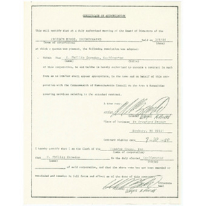 Certificate of authorization certifying that the Board of Directors of Freedom House elected Otto Phillip Snowden co-director