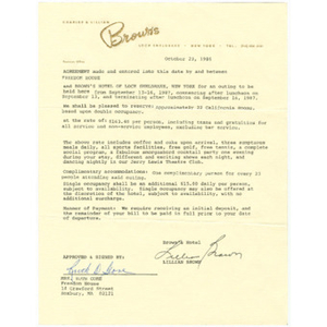 Agreement between Lillian Brown and Ruth Gore concerning Roxbury Goldenaires stay at Brown's Hotel