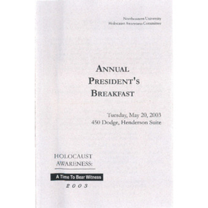 Annual President's Breakfast program, 2003.