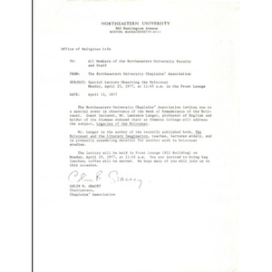 An invitation dated April 15, 1977 for an event with Lawrence Langer.