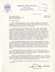 Correspondence between Louise Day Hicks, Boston City Councilor, and Judge W. Arthur Garrity, 1974 August-October