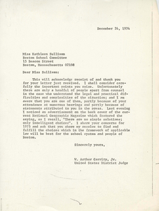 Letter from Judge W. Arthur Garrity to Boston School Committee member Kathleen Sullivan, 1974 December 24