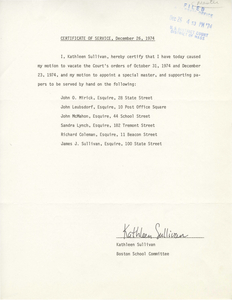 Certificate of Service from Kathleen Sullivan, 1974 December 26