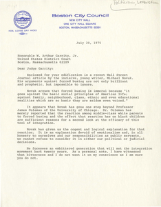 Letter from Louise Day Hicks, Boston City Councilor, to Judge W. Arthur Garrity, 1975 July 28