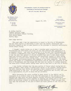 Letter from Raymond Flynn, Massachusetts State Representative, to Judge W. Arthur Garrity, 1975 August 29