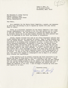 Letter from James W. Hunt, candidate for Boston School Committee, to Judge W. Arthur Garrity, circa 1975