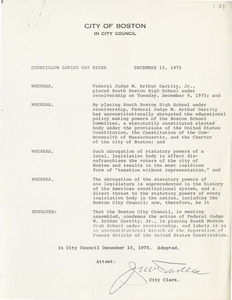 Boston City Council resolution concerning South Boston High School being placed under receivership, 1975 December 15