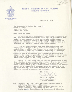 Letter from Daniel A. Taylor, Chief Legal Counsel to Governor Michael Dukakis, to Judge W. Arthur Garrity, 1976 January 2