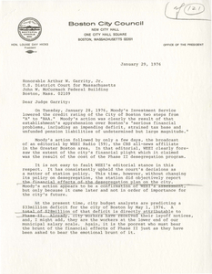 Letter from Louise Day Hicks, President of the Boston City Council, to Judge W. Arthur Garrity, 1976 January 29