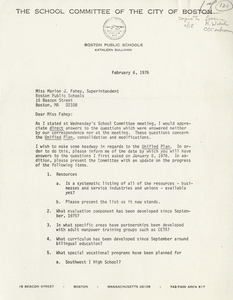 Letter from Kathleen Sullivan, Boston School Committee member, to Marion J. Fahey, Superintendent of Boston Public Schools, 1976 February 6