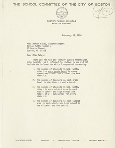 Letter from Kathleen Sullivan, Boston School Committee member, to Marion J. Fahey, Superintendent of Boston Public Schools, 1976 February 12
