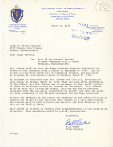 Letter from Bill Owens, Massachusetts State Senator, to Judge W. Arthur Garrity, 1976 March 22