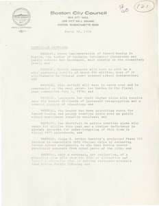 Two Boston City Council resolutions related to Judge Garrity's busing and desegregation orders, 1976 March 22