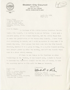 Letter from Albert O'Neil, Boston City Councilor, to Maceo Dixon, Project Director for April 24 Coalition, 1976 April 19