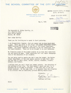 Letter from Kathleen Sullivan, Boston School Committee member, to Judge W. Arthur Garrity, 1976 May 6