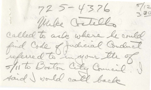 Letter to Michael Costello, from Judge W. Arthur Garrity's secretary. 1976 May 12