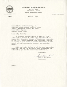 Correspondence between Louise Day Hicks, President of the Boston City Council, and Judge W. Arthur Garrity, 1976 May