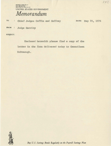 Memorandum to Judge Andrew Augustine Caffrey and Judge Frank Morey Coffin from Judge Garrity concerning a Boston City Council summons, 1976 May 20