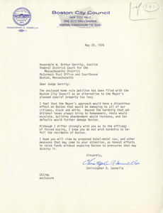Letter from Christopher A. Iannella, Boston City Councilor, to Judge W. Arthur Garrity, 1976 May 20