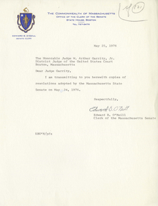 Letter from Edward B. O'Neill, Clerk of the Massachusetts Senate, to Judge W. Arthur Garrity about a Senate Resolution concerning busing, 1976 May