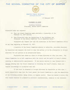 Statement to the Court from Kathleen Sullivan, Boston School Committee President, 1977 February 17