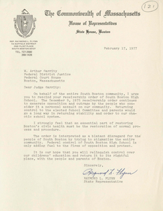 Letter from Raymond L. Flynn, Massachusetts State Representative, to Judge W. Arthur Garrity, 1977 February 17