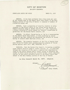 Boston City Council resolutions concerning busing, 1977 March 21