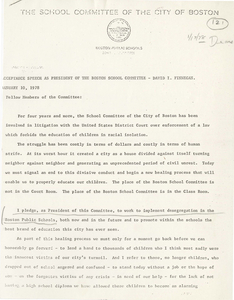 Acceptance speech of David I. Finnegan as President of the Boston School Committee, and a letter from Marion J. Fahey, Boston Public School Superintendent, nominating Doreen Wilkinson as the Director of the Department of Implementation, 1978 January 10