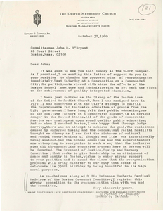 Letter from Edward G. Carroll, former Bishop of the Boston Area United Methodist Church, to John D. O'Bryant, Boston School Committee member, 1980 October 30