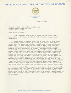 Correspondence between Kevin A. McCluskey, Boston School Committee member, and Judge W. Arthur Garrity, 1981 July
