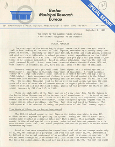 Reports from the Boston Municipal Research Bureau and a Boston Globe article about the report, 1981 September