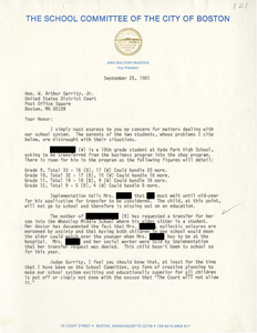 Correspondence between Jean Sullivan McKeigue, Vice President of the Boston School Committee, and Judge W. Arthur Garrity, 1981 September-October