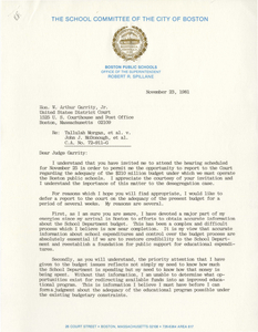 Correspondence between Robert R. Spillane, Superintendent of Boston Public Schools, and Judge W. Arthur Garrity, 1981 November