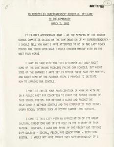 Address given by Robert R. Spillane, Superintendent of Boston Public Schools, to the community, 1982 March 2