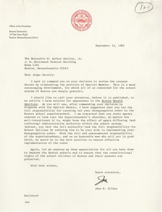 Letter from John R. Silber, president of Boston University, to Judge W. Arthur Garrity, 1982 September 16