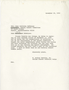 Correspondence between Jean Sullivan McKeigue, Boston School Committee member, and Judge W. Arthur Garrity, 1982 December