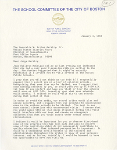 Correspondence between Robert R. Spillane, Superintendent of Boston Public Schools, and Judge W. Arthur Garrity, 1985 January