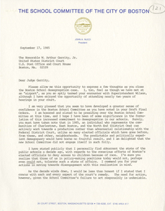 Letters from John A. Nucci, President of the Boston School Committee, to Judge W. Arthur Garrity, 1985 September