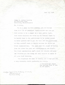 Letter to Judge W. Arthur Garrity, 1974 June 25