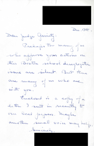 Letter to Judge W. Arthur Garrity, including copy of letter written to local paper, 1974 December 17