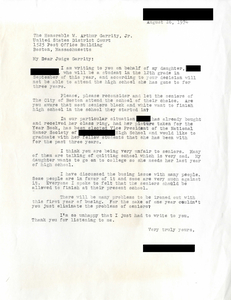 Letter to Judge W. Arthur Garrity, 1974 August 26