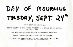 Flyer announcing 'Day of Mourning,' 1974 September