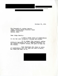 Letter to Judge W. Arthur Garrity, 1974 October 23