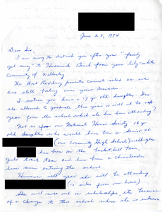 Letter to Judge W. Arthur Garrity protesting forced busing, 1974 June 23