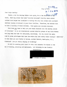 Letter to Judge W. Arthur Garrity protesting forced busing, 1974 July 1