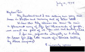 Letter to Judge W. Arthur Garrity protesting forced busing, 1974 July 12
