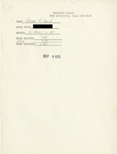 Citywide Coordinating Council daily monitoring report for South Boston High School by Vincent G. Gavin, 1975 September 9
