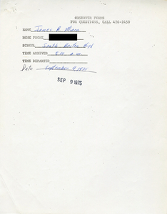 Citywide Coordinating Council daily monitoring report for South Boston High School by James A. Miara, 1975 September 9