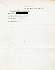 Citywide Coordinating Council daily monitoring report for Charlestown High School by Kathleen Field, 1974 September